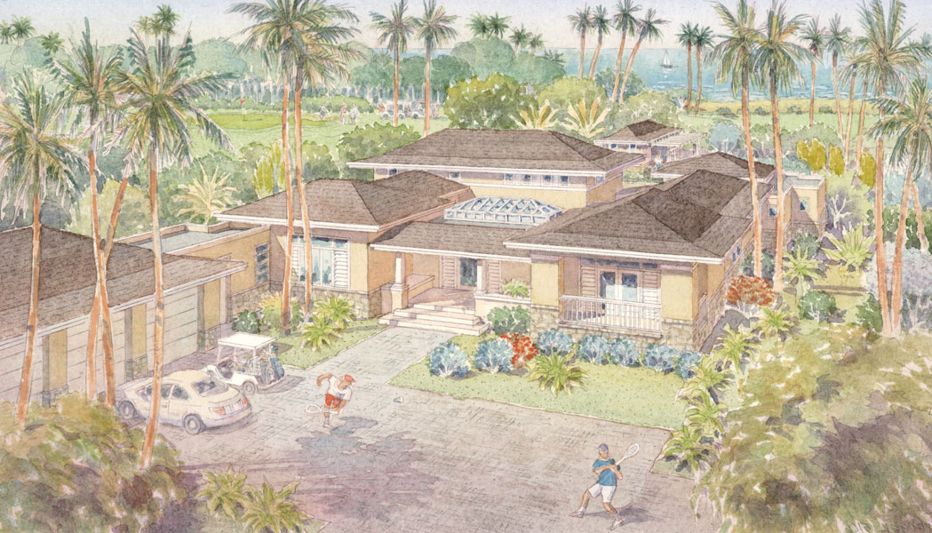 Bahia Beach House II, aerial watercolor