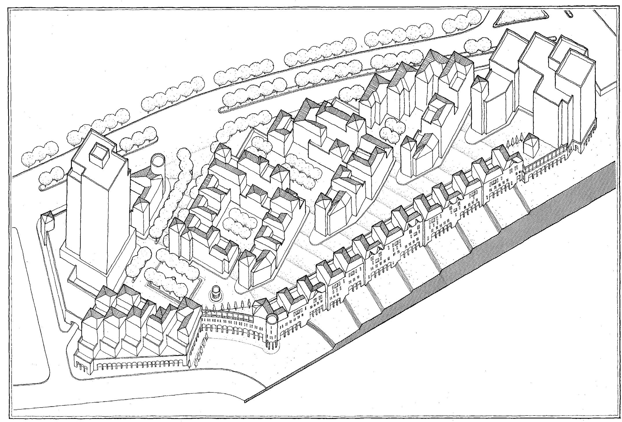 Santa Fe Master Plan - Axon of Housing,