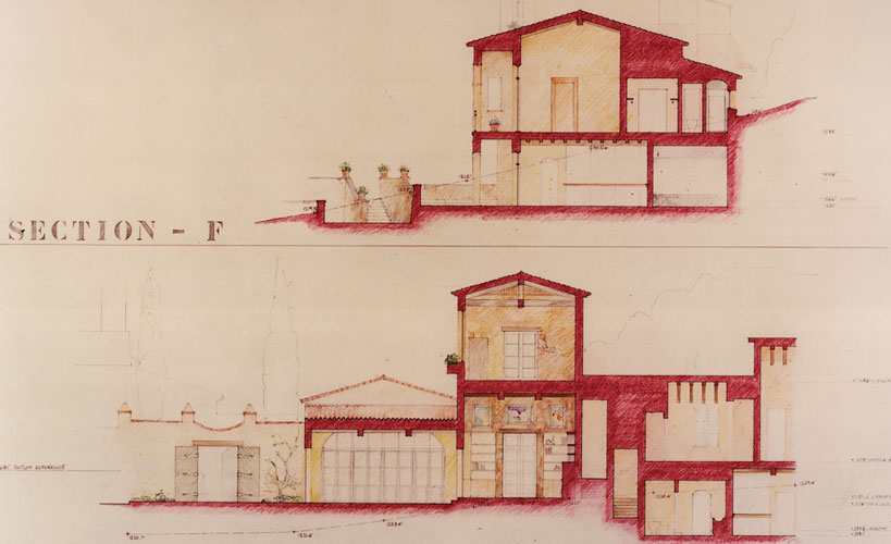 California House IV hand drawn building sections