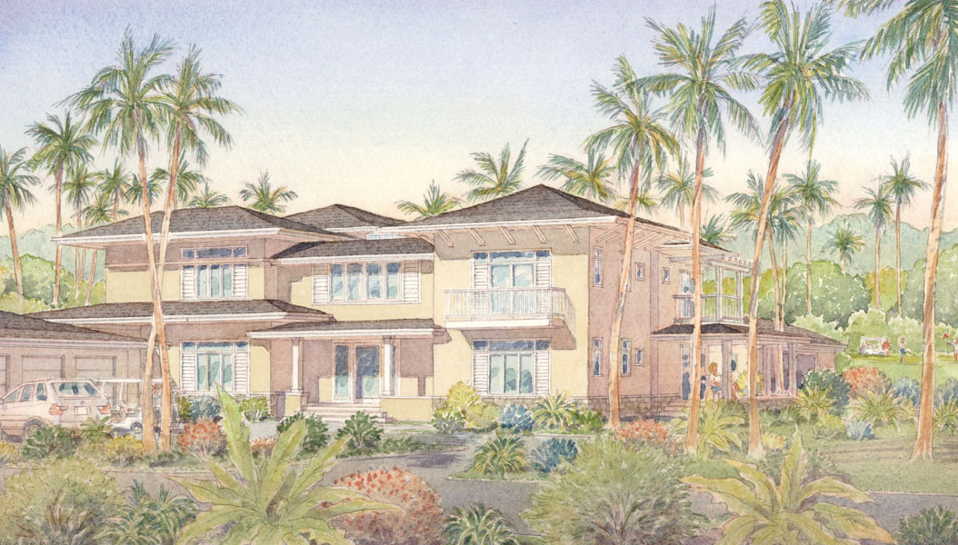 Bahia Beach House I, watercolor
